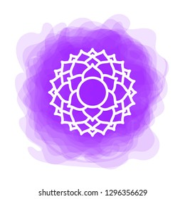 Sahasrara icon. The seventh crown, parietal chakra. Vector purple smoky circle. Line symbol. Sacral sign. Meditation