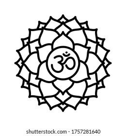 Sahasrara icon. The seventh crown, parietal chakra. Vector black line symbol. Sacral sign. Meditation