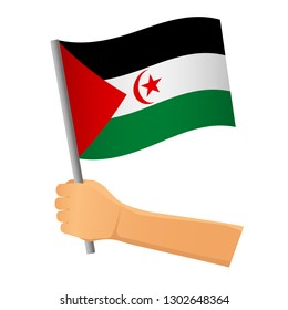 Sahrawi Arab Democratic Republic flag in hand. Patriotic background. National flag of Sahrawi Arab Democratic Republic vector illustration