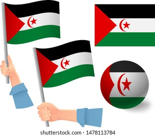 Sahrawi Arab Democratic Republic flag in hand set. Ball flag. National flag of Sahrawi Arab Democratic Republic vector illustration
