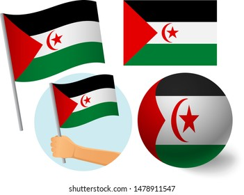 Sahrawi Arab Democratic Republic flag icon set. National flag of Sahrawi Arab Democratic Republic vector illustration