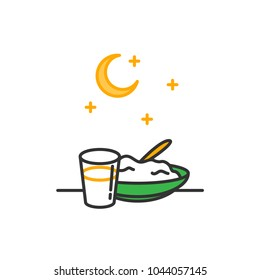 Sahur. predawn meal before the fast symbol. Simple monoline icon style for muslim ramadan and eid al fitr celebration.