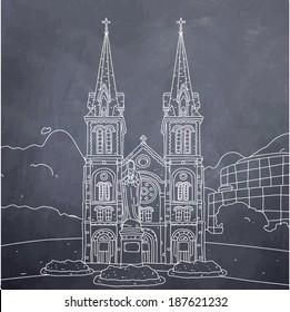 Saigon Notre-Dame Basilica-chalk board