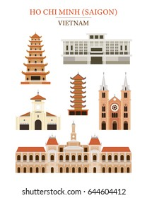 Saigon Vietnam Landmarks Architecture Building Object Set, Ho Chi Minh City, Travel and Tourist Attraction