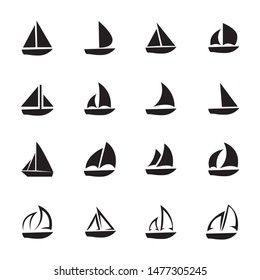 sail boat icons set, vector illustration