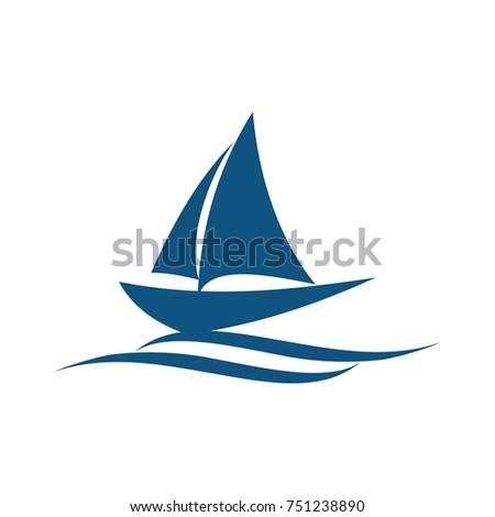 sail boat logo design template vector stock vector royalty free