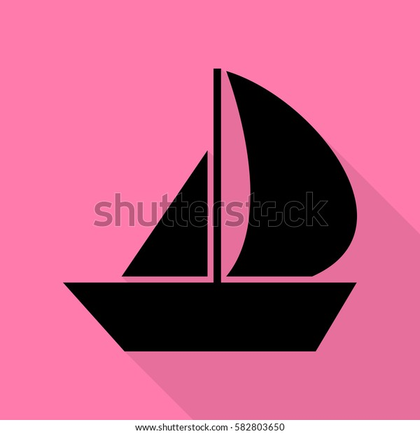 Sail Boat sign. Black icon with flat style shadow path on pink background.