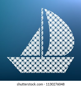 Sail Boat sign. Vector. White textured icon at lapis lazuli gradient background.