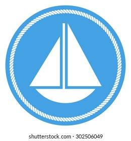Sail boat vector icon, modern minimal flat design style sailboat symbol, round badge with rope border