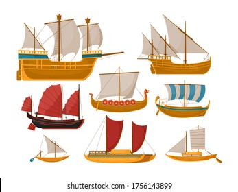 Sail boat vector. Isolated sailboat set with sea vessel and ocean ship side view. Vintage wooden sailing vessels, galleys, Galleons, rowing schooners on white backround.