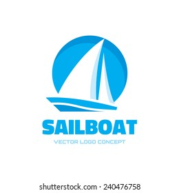 Sail boat - vector logo template concept illustration. Ship sign. Design element.