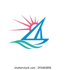 Sail boat - vector logo template concept illustration. Ship sign. Yacht symbol. Sun rays and water waves. Sea ocean travel. Summer vacation. Design element.