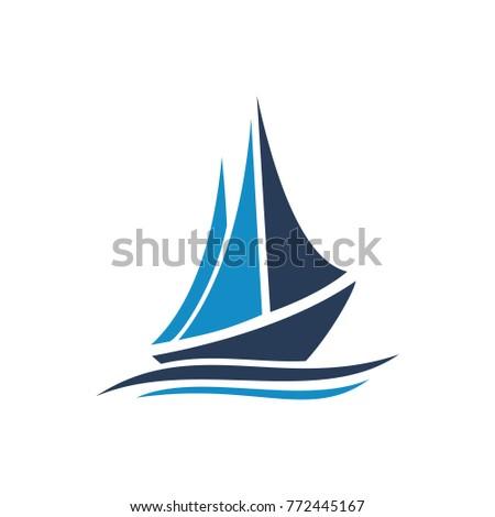sail boat vector logo template concept stock vector royalty free
