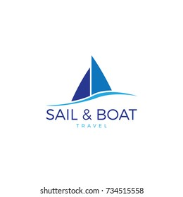 Sail Boat Waves Logo, vector logo concept, travel logo template