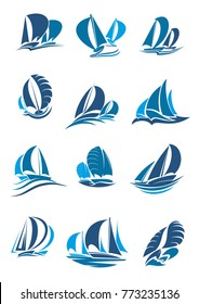Sail boat, yacht and sailboat icon set. Sailing ship under full sail with wave and splashes blue silhouette of water vessel for sailing sport, regatta, sailing race and yacht club emblem design