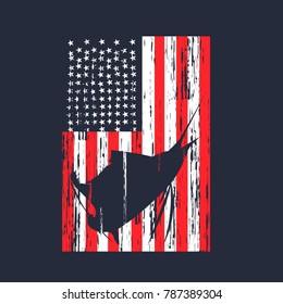 Sail Fish Inside USA Flag Vector Design