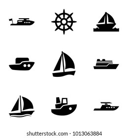 Sail icons. set of 9 editable filled sail icons such as boat, sailboat, helm