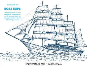 Sail ship hand drawn sketch. Nautical vector illustration. Sea design template.