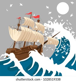 Sail ship in strong storm in the evening in the ocean or sea under the moon