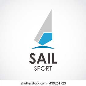 Sail sport of triangle abstract vector and logo design or template ocean business icon of company identity symbol concept