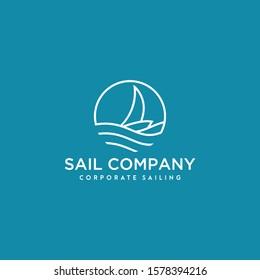 sail yacht logo design with circle shape monogram style