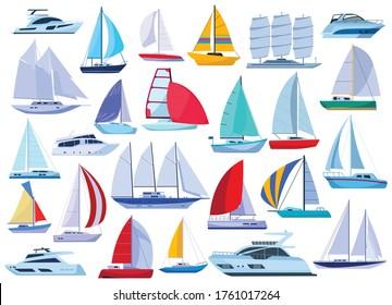 Sail yacht vector cartoon set icon. Vector illustration sailboat on white background. Isolated cartoon set icon sail yacht.