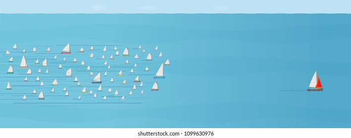 Sailboat ahead of the Competition, Winning, Leaving the Crowd behind, Progress, Achievement, The Best, Entrepreneur, In Front of, Wide Format, Sea, Business Strategy Concept, Illustration, Win, First