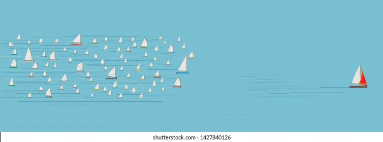 Sailboat ahead of the Competition, Winning, Leaving the Crowd behind, Progress, Impressive, The Best, Entrepreneur, In Front of, Wide Format, Sea, Business Strategy Concept, Illustration, Win, First