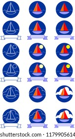 Sailboat badge icon with sun clouds and banner for copy space