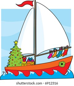 A sailboat with a Christmas tree,presents and stockings hanging from the sail