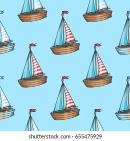 sailboat cruise marine transportation vector romantic seamless pattern. For child, toy, textile. Ship on blue