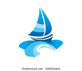 Sailboat floating on big waves