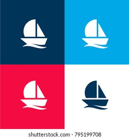 Sailboat four color material and minimal icon logo set in red and blue
