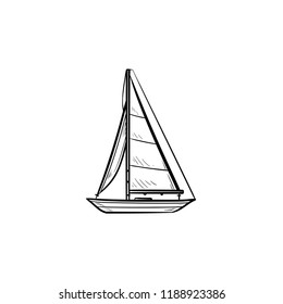 Sailboat hand drawn outline doodle icon. Boat travel and yacht, water transport, recreation concept. Vector sketch illustration for print, web, mobile and infographics on white background.