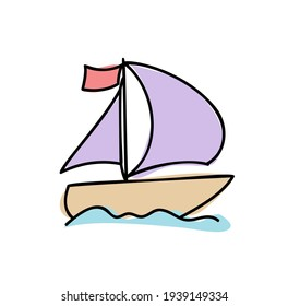 Sailboat hand drawn outline doodle icon summer. Boat travel and yacht, water transport, recreation concept. Vector sketch illustration for print, web, mobile and infographics on white background.