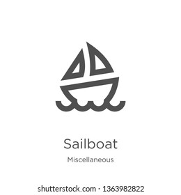 sailboat icon. Element of miscellaneous collection for mobile concept and web apps icon. Outline, thin line sailboat icon for website design and mobile, app development