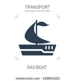 sailboat icon. high quality filled sailboat icon on white background. from transport collection flat trendy vector sailboat symbol. use for web and mobile