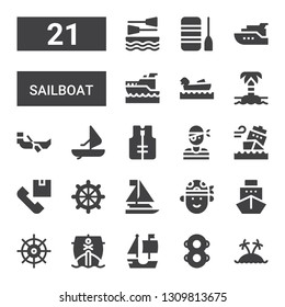 sailboat icon set. Collection of 21 filled sailboat icons included Island, Floats, Ship, Helm, Pirate, Sailboat, Shipping, Lifejacket, Windsurf, Boat, Boating, Yatch, Yacht