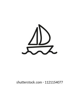 Sailboat line icon. Boat, sailing, cruise. Transportation concept. Vector illustration can be used for topics like travelling, vacation, vessel