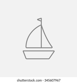 Sailboat line icon for web, mobile and infographics. Vector dark grey icon isolated on light grey background.