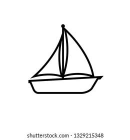Sailboat line icon.Boat , logo isolated on white background
