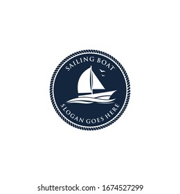 Sailboat logo, Sailing boat icon symbol ,vector illustration