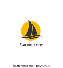 Sailboat logo, sailing logo design, vector icons.