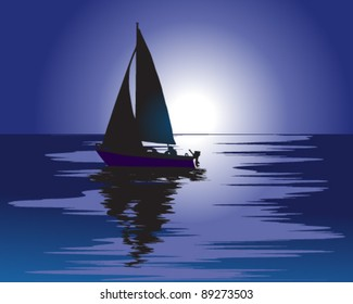Sailboat in the moonlight