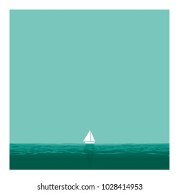 SAILBOAT IN THE OCEAN. LONELINESS. THE SMALL FRONT THE IMMENSITY. Serie of metaphorical concepts.