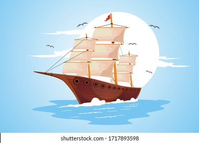 Sailboat in the ocean with a seagull background vector