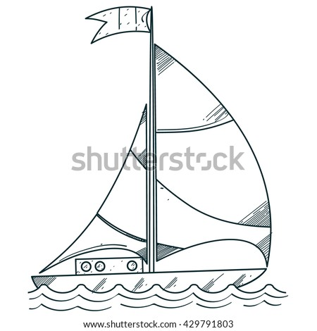 sailboat on sea outline drawings coloring のベクター画像素材