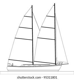 sailboat outline illustration