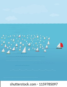 Sailboat with red sail in front of the fleet, Winning concept, leading the way, Leave Your Competition In The Dust, Sail boat Race, First place, achievement, marketing, strategy, ahead of the rest