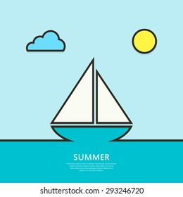 Sailboat sailing in the sea.  Abstract background. Outline. Vector illustration